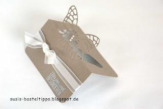 pop up schmetterlings-Tischkarte von Stampin Up für Hochzeit, Platzkarten