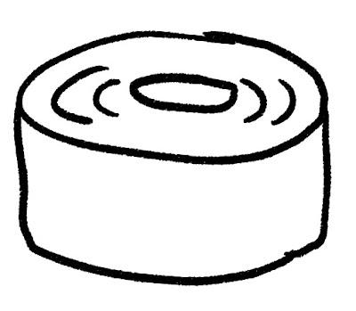 バームクーヘンのイラスト(お菓子) モノクロ線画