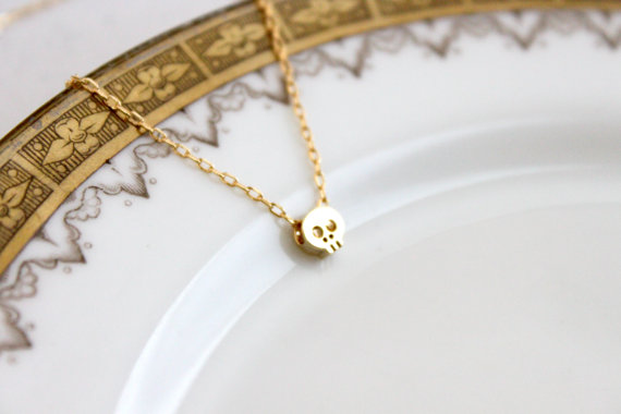 Dainty Gold Skull Necklace