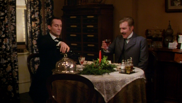 "Jeremy Brett as Sherlock Holmes and David Burke as Dr. Watson in ""The Blue Carbuncle"""