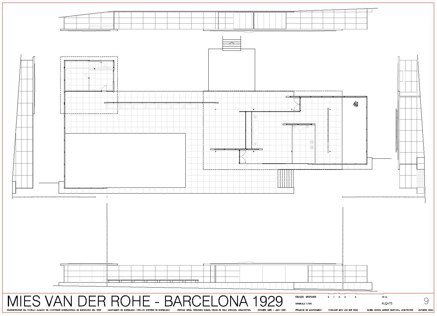 Barcelona Pavilion Section Drawing