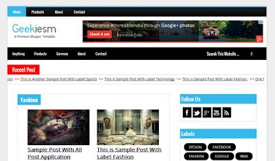Geekiesm Premium Responsive Blogger Template