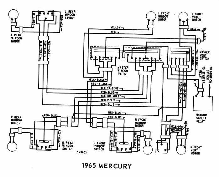 Mercury+1965+Windows+Wiring+Diagram mercury 1965 windows wiring diagram all about wiring diagrams 1965 Thunderbird Window Regulator at virtualis.co