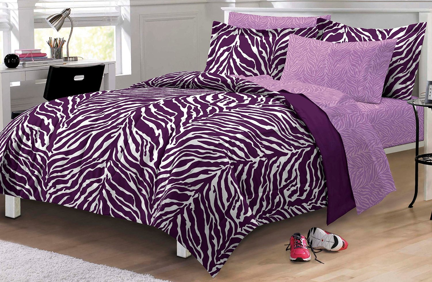 Purple bedding for teenage girls - Uber Cheap Funky Purple Zebra Print Comforter Sheet Set For Tween And Teen Girls