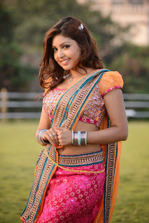 Komal Jha in Realy Cute Colorful Saree Lovely Dance Stills Spicy Choli Must See