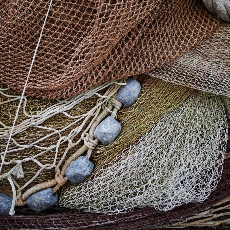 Reti di pescatori lasciate a riposare