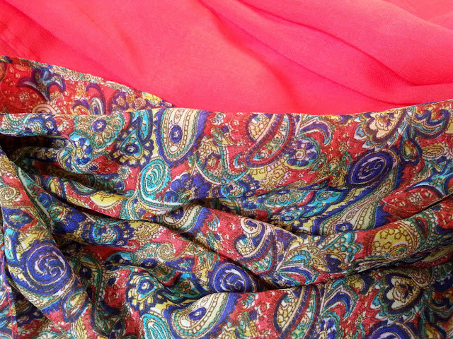 shawl chiffon 2 layer printed paisley red