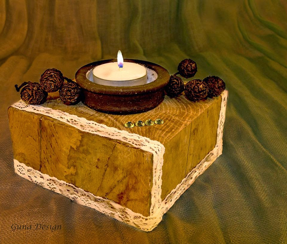 gunadesign guna andersone wooden candle holder with lace and woody cones of alder tree