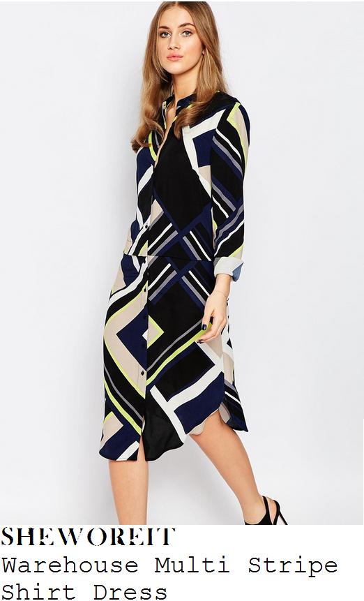 ferne-mccann-blue-white-black-multicoloured-stripe-print-shirt-dress-this-morning