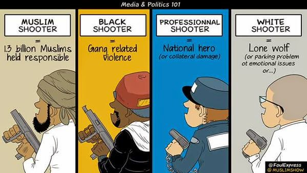 Terrorist muslim shooter cartoon
