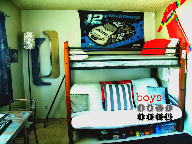 boys race room, boys room makeover, racing room, industrial, cheap makeovers