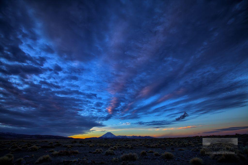 Sunset over the Tongariro Mountains, Tongariro National Park, New Zealand