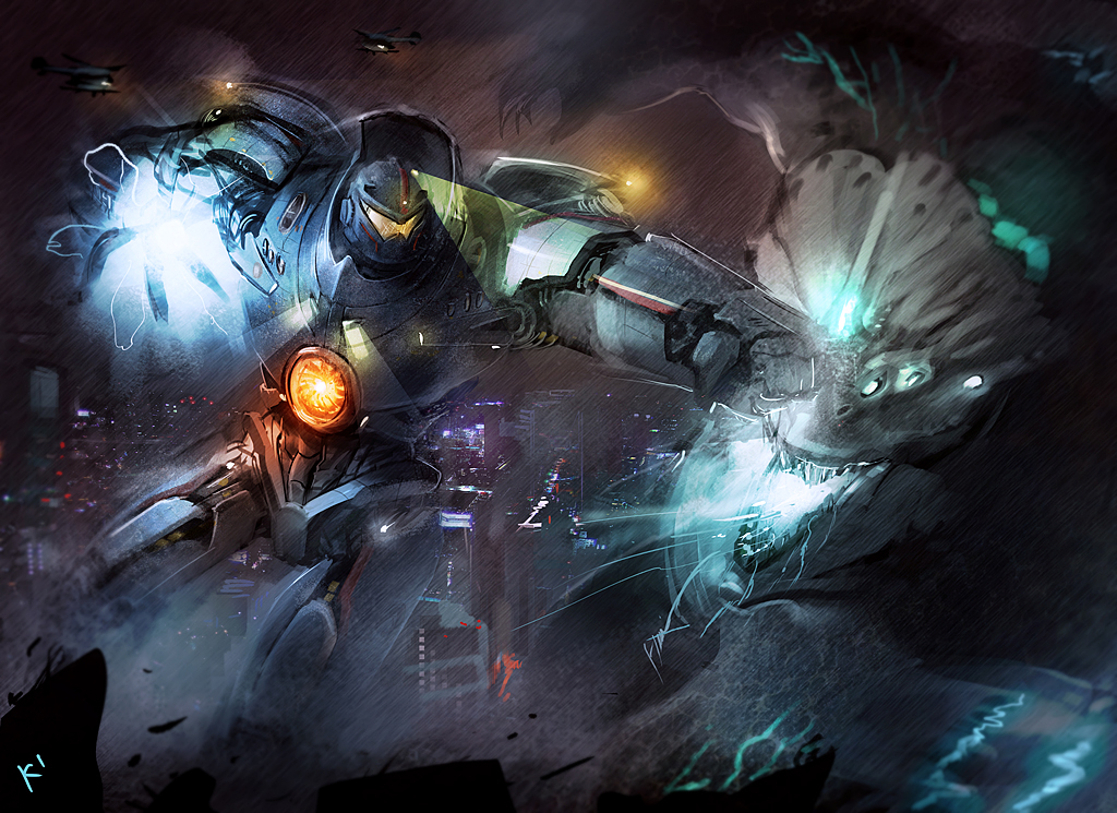 Pacific Rim Jaeger Vs Kaiju Fighting Epic Monster Mecha Robot HD Wallpaper Desktop PC Background A127