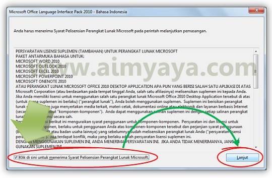 Gambar: Syarat Lisensi Office language interface pack (bahasa Indonesia)