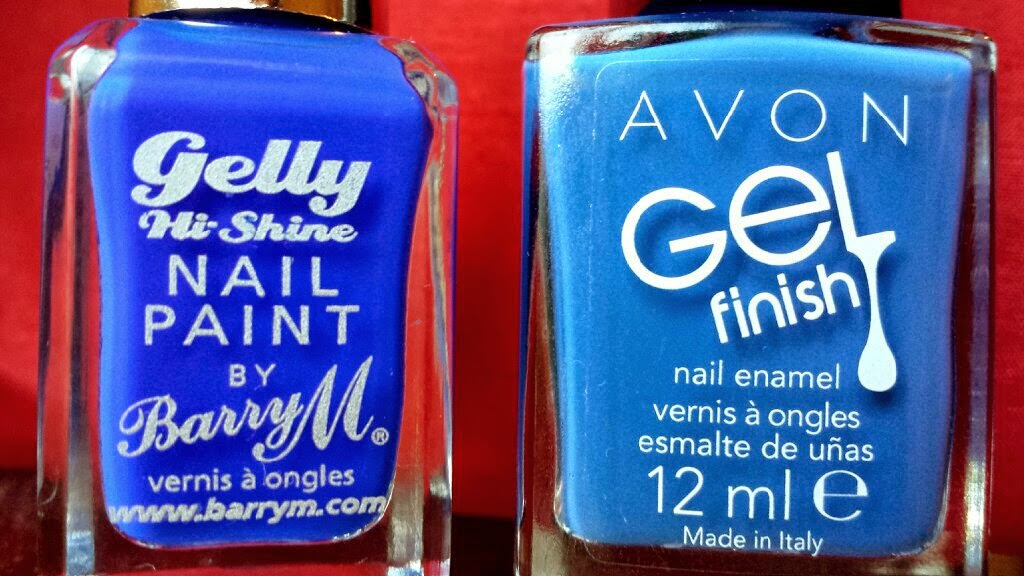 Avon Gel Finish Nail Enamel in Royal Vendetta and Barry M Gelly in Blue Grape