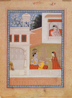 Folio from a Manuscript of the Satsai of Bihari Lal: Krishna Talks to Radha's Maidservant