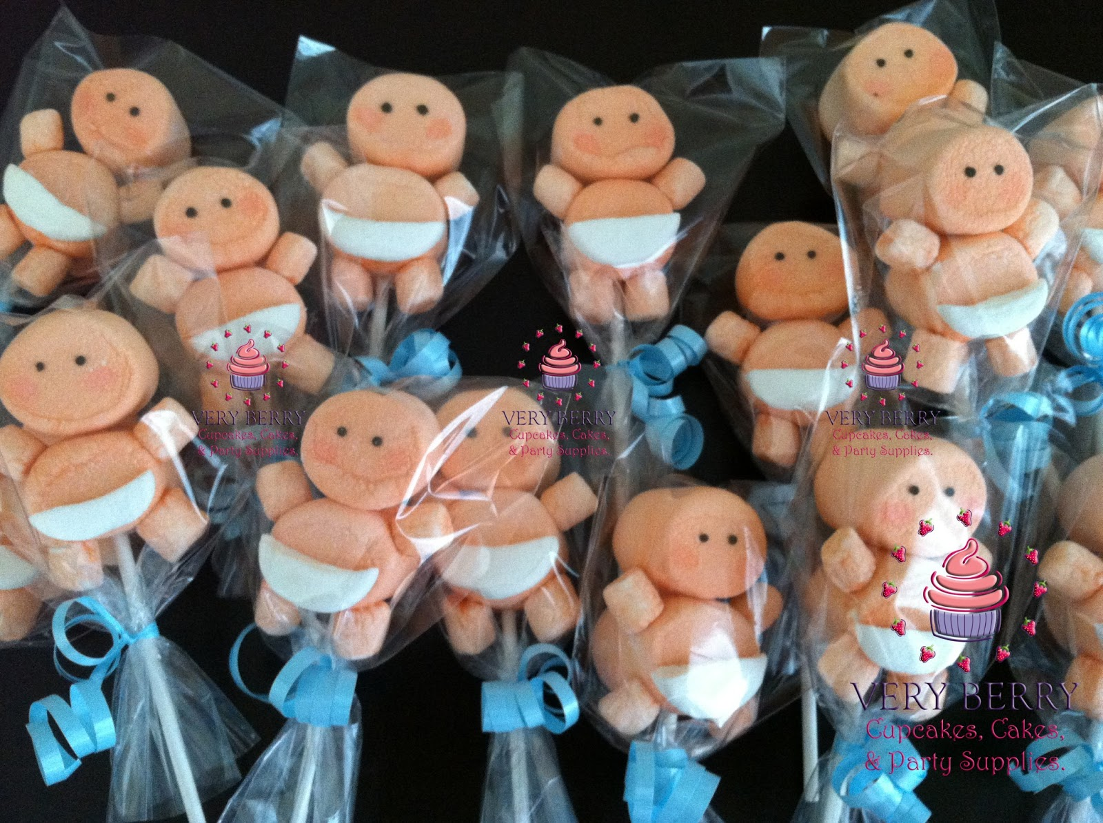 veryberry cupcakes boy baby shower marshmallow pop favors