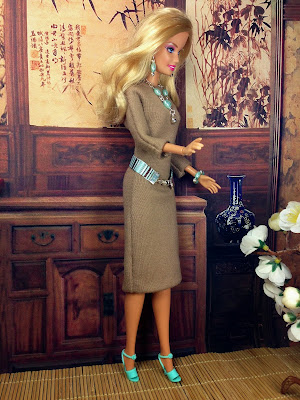 Tan Barbie Doll Dress and Sea Foam Blue Accessories