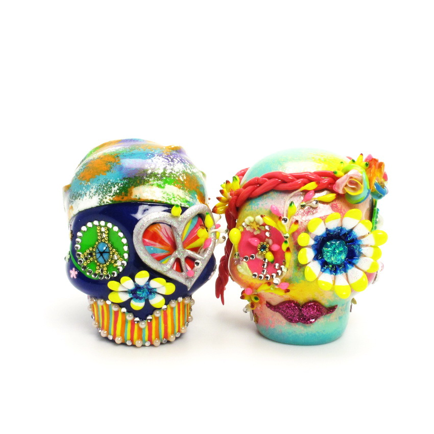 day of the dead wedding cake topper mexican skull 00016