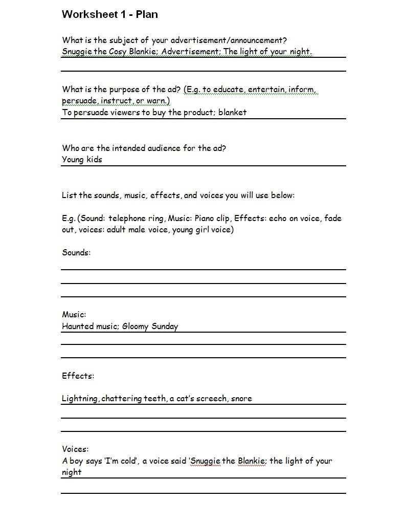 leena 39 s ict blog the plan worksheet on advertisement. Black Bedroom Furniture Sets. Home Design Ideas