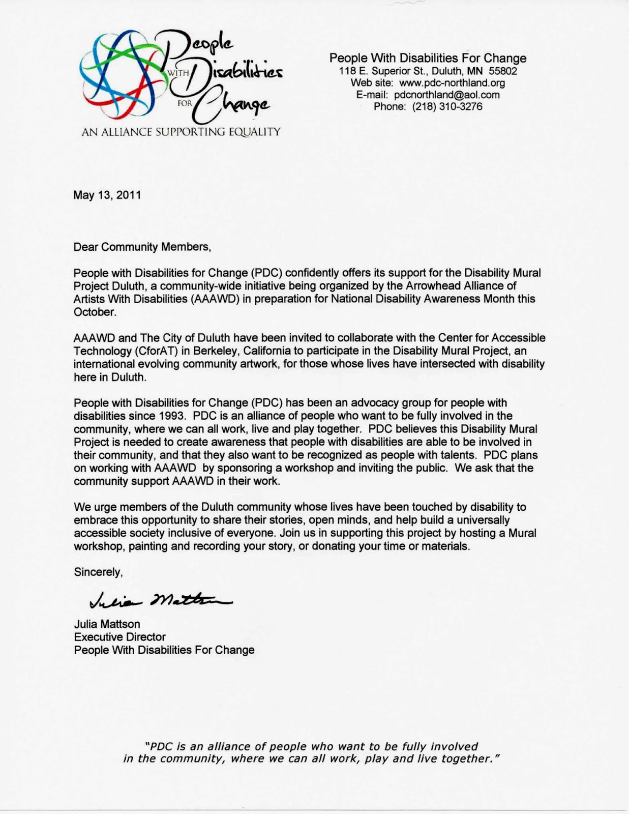 letter of support from people with disabilities for change pdc