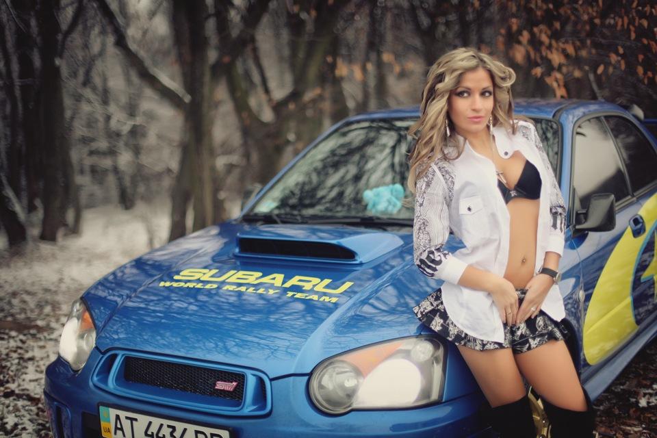 Subaru Impreza WRX STi GD, dziewczyna i auto, boxer, sportowy sedan, japoński, galeria