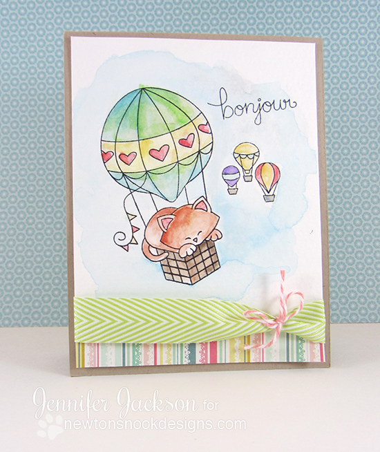 Bonjour Kitty in Hot Air Balloon Card by Jennifer Jackson | Newton Dreams of Paris Stamp set by Newton's Nook Designs