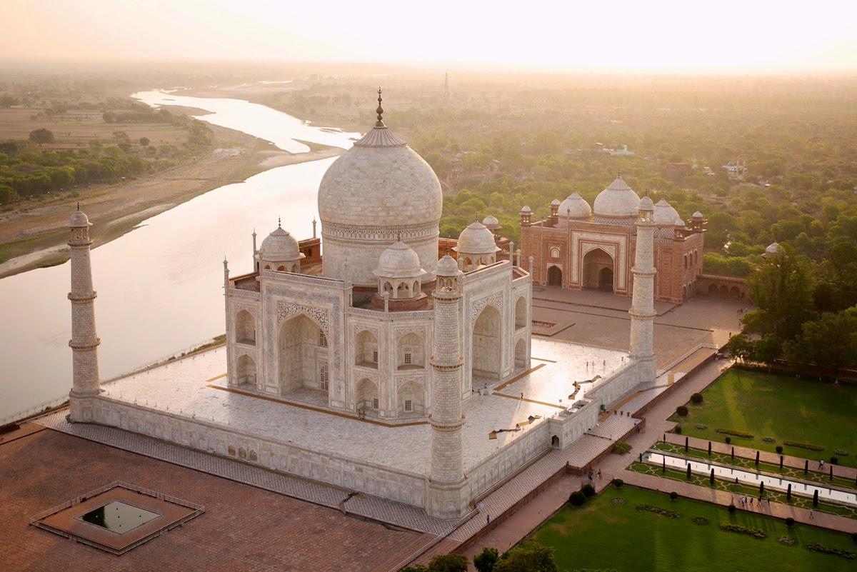 drone aerial photography world famous landmarks, Taj Mahal, India