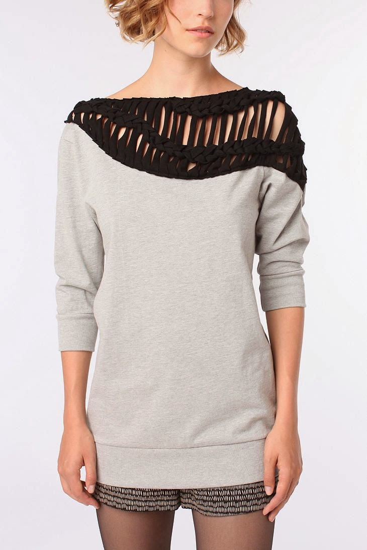 Macrame Trim Sweatshirt by Urban Outfitters