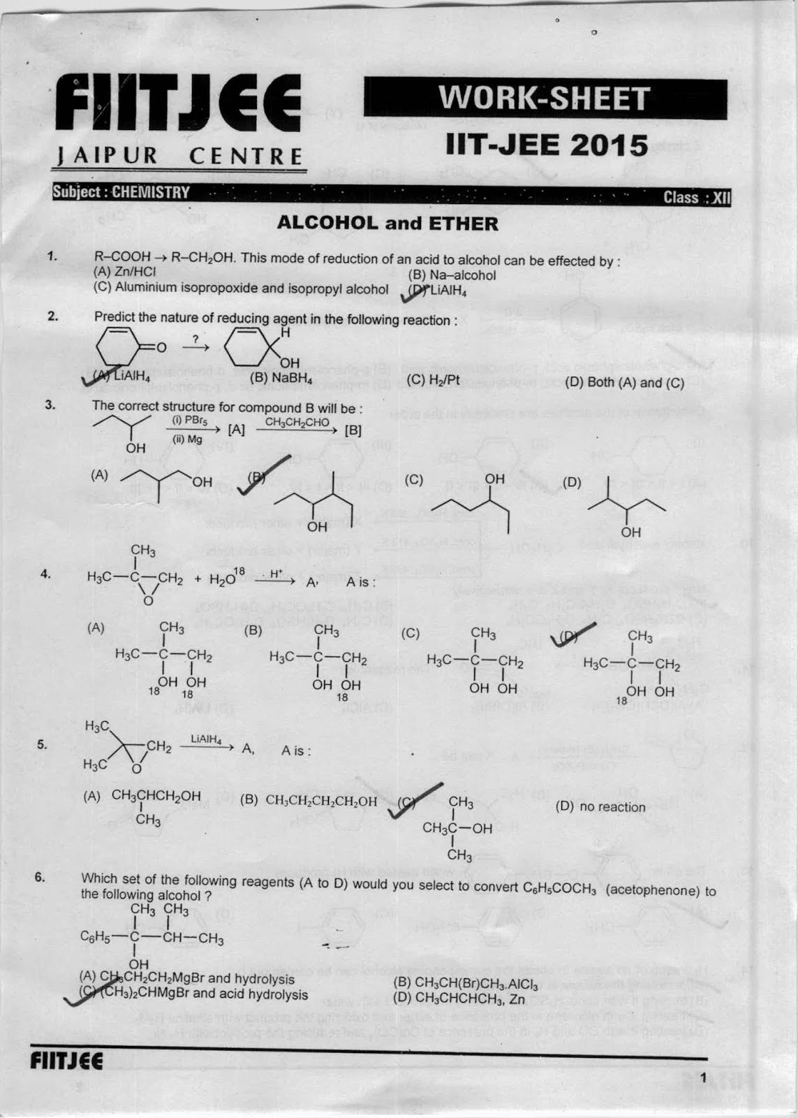worksheet Solution Worksheet worksheet alcohol ether and phenols check the answers with solution