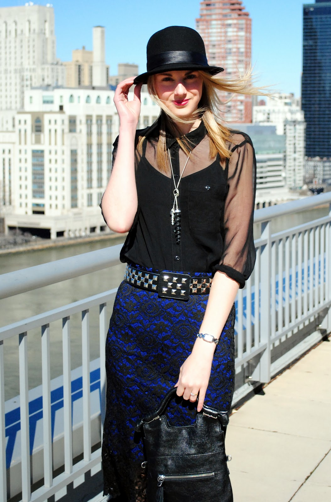 lace skirt sheer blouse