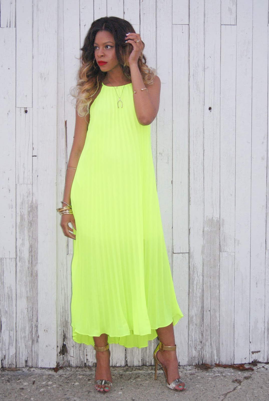maxi dress, neon maxi dress, high low dress, neon dress, nasty gal neon dress, allthingsslim, maternity style, ombre hair,