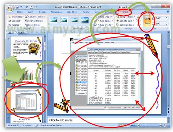 Gambar:  Cara memasukkan gambar tampilan screen ke dalam slide presentasi powerpoint dan melakukan proses cropping