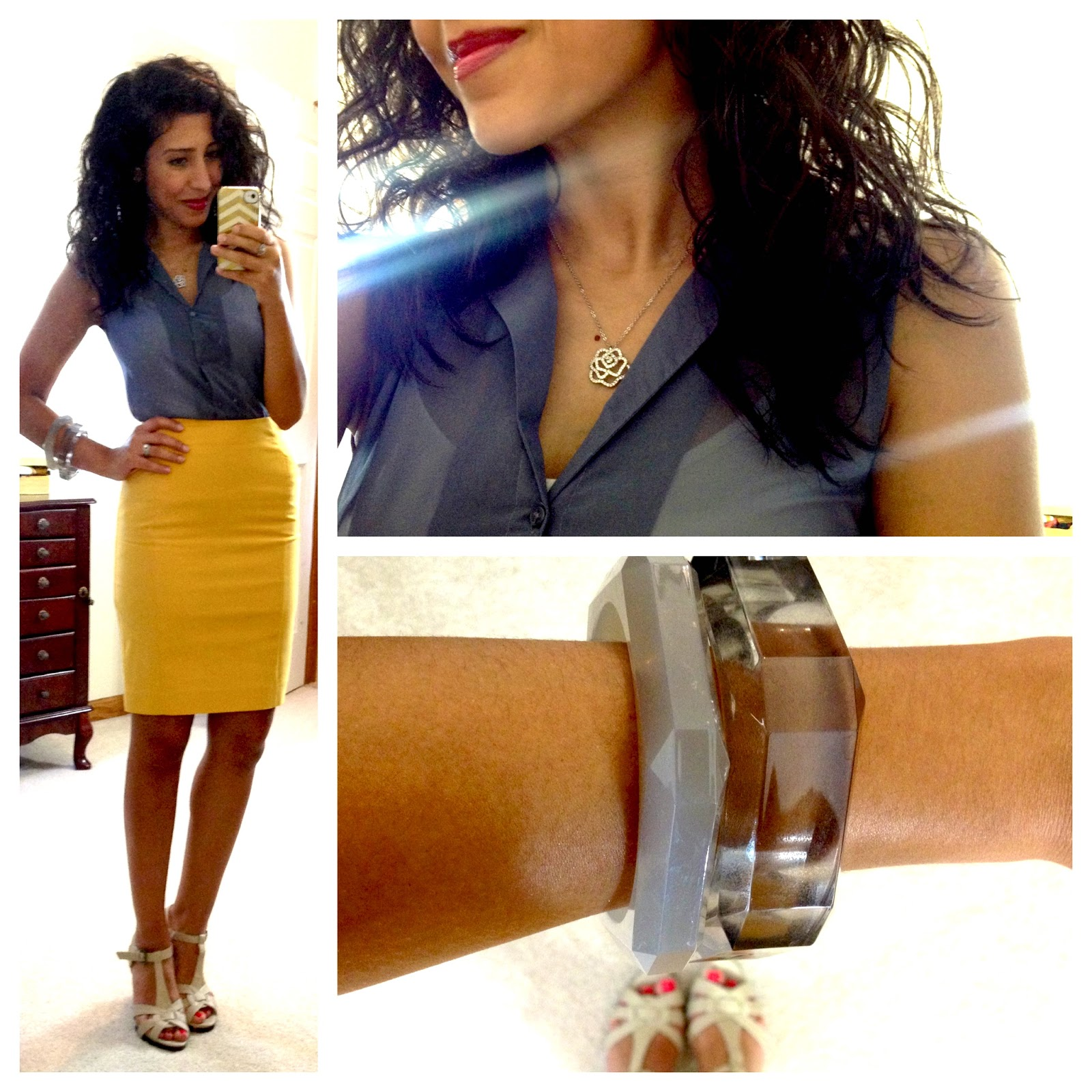HM Blouse Stretch Pencil Skirt Bangles Swarovski Necklace Heels Via Kohls