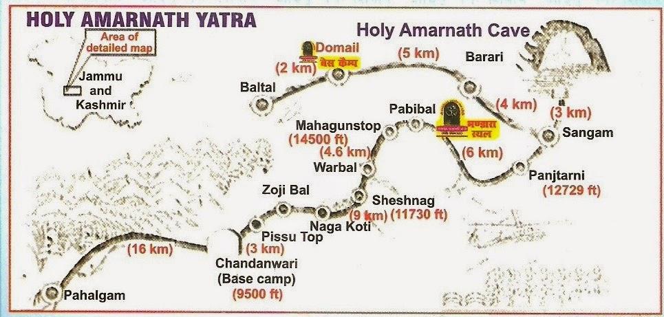 Amarnath Temple Map