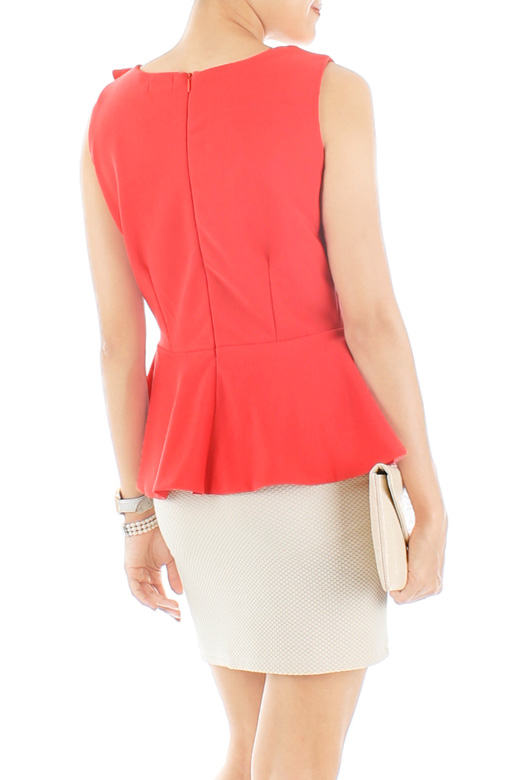 Lady Side Ruffle Peplum Top - Coral