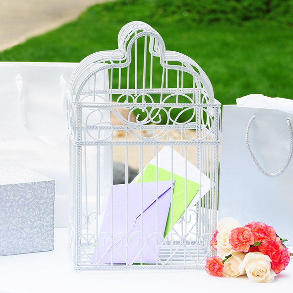 place their wedding well wishes with this splendid Birdcage Card Holder