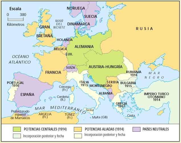Europa antes del inicio de la I Guerra Mundial. Crédito: rumboalauniversidad.blogspot.com