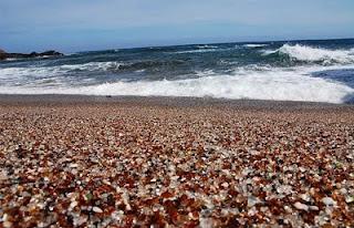 Glass sandy beach at Fort Bragg, California