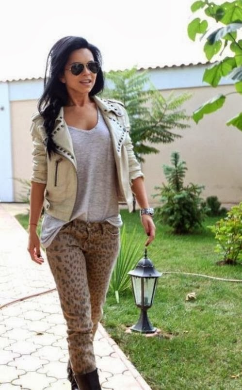 Beige Color Jacket,Light Grey Shirt And Leopard Jeans