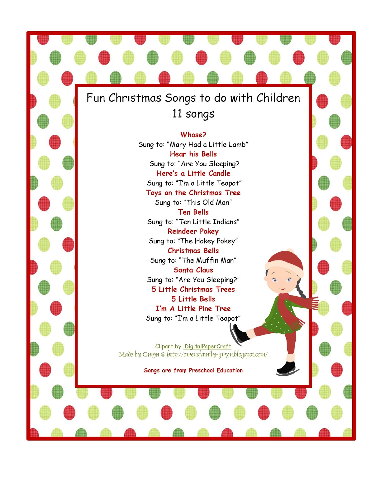 Fun Christmas Songs to do Children ~ Preschool Printables