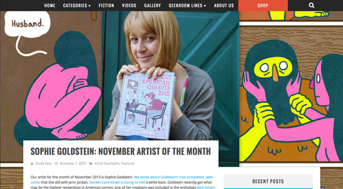 http://geekroom.jerrickventures.com/featured/sophie-goldstein-november-artist-month/
