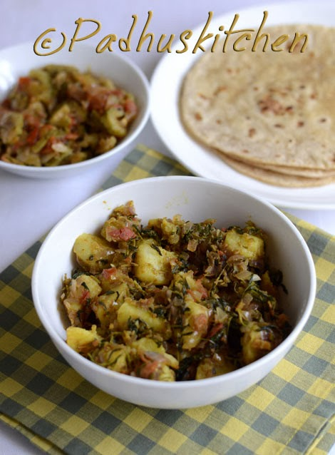 Aloo Methi Sabzi-Aloo Methi Curry Recipe-Potato with fenugreek leaves ...