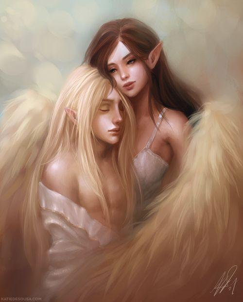 Katie de Souza ilustrações fantasia games mulheres Luke e Diana