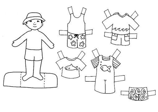 Muñecas recortables para colorear - Imagui