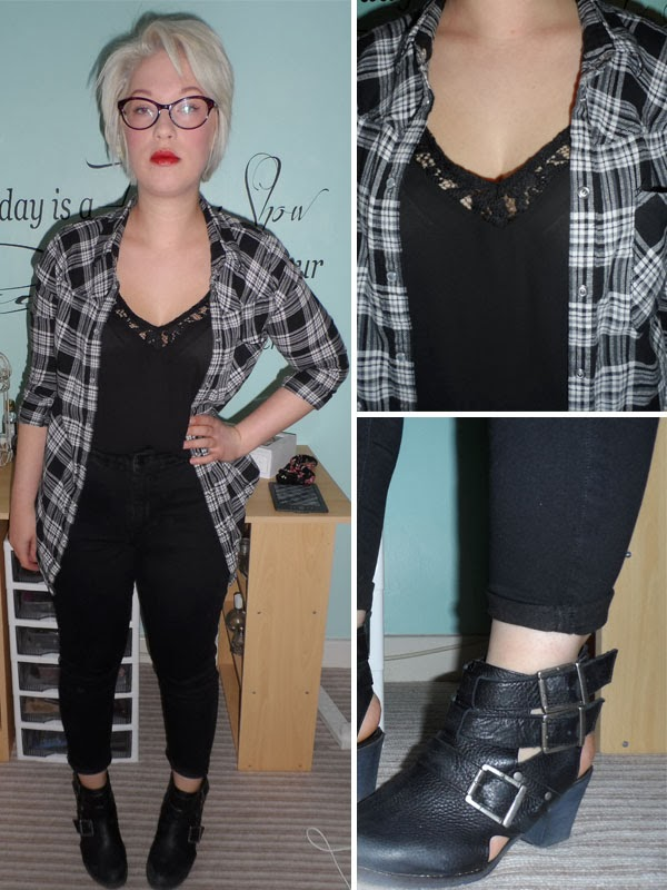 Grey Checked Shirt over Lacey Cami