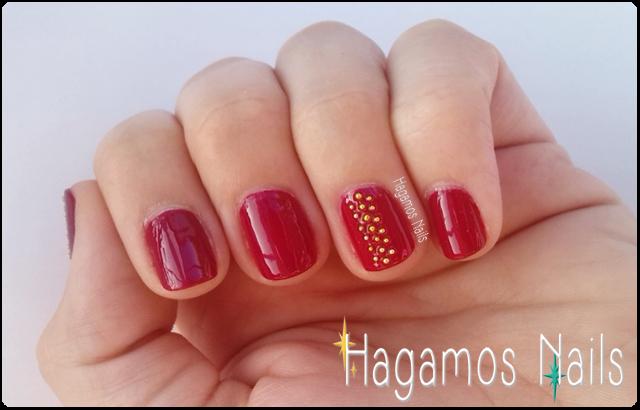 Rojo y líneas de Caviar doradas HN