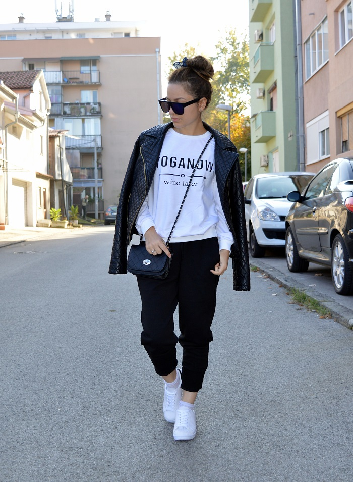 outfit, sponsored, white sweatshirt, yoga now wine later sweatshirt, black sweatpants, white sneakers, adidas originals superstar, lovelywholesale.com