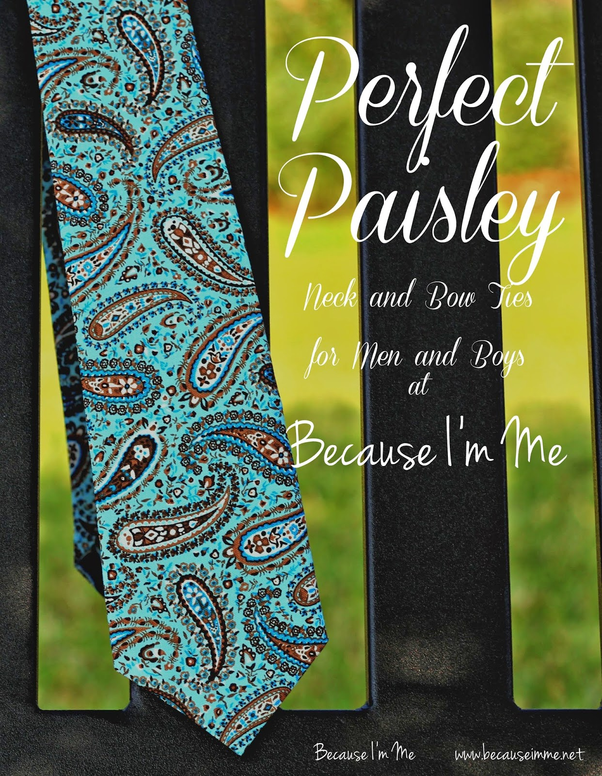Because I'm Me blue and brown paisley woven cotton neckties and bow ties for men and boys