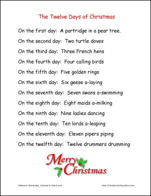 12 days of christmas lyrics printable